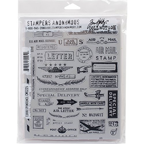 Correspondence Set (Stampers Anonymous Tim Holtz Cling Rubber Correspondence Stamp Set, 7 x 8.5