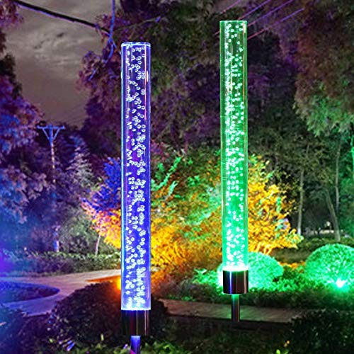 2pcs Garden Solar Lights Outdoor Solar Tube Lights Solar Acrylic Bubble RGB Color Automatic change Solar Powered Garden Stake Lights for Stake Lights for Garden Patio Backyard Pathway Decoration