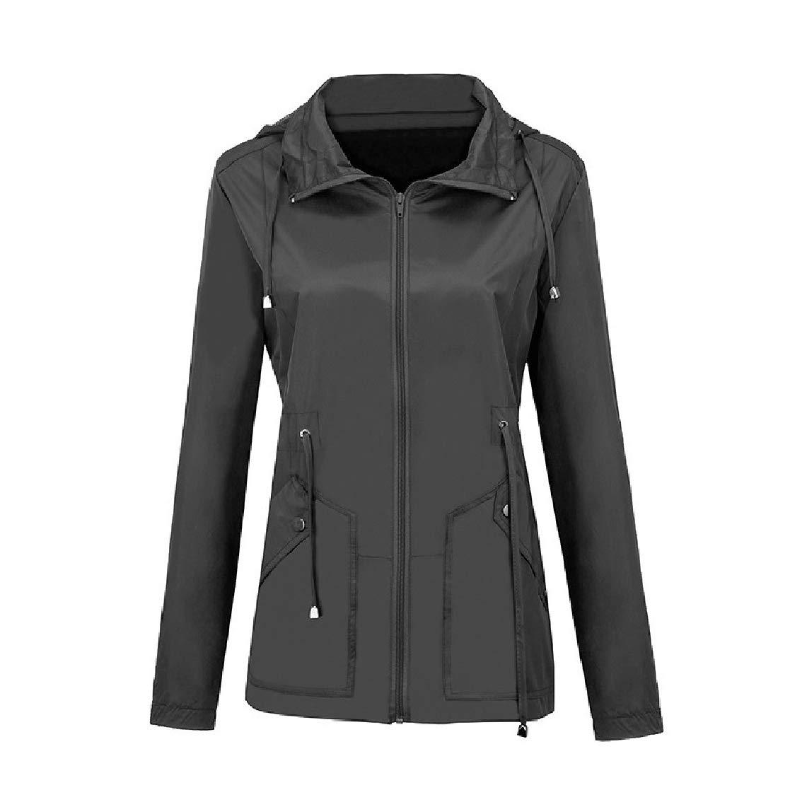 YUNY Womens Waterproof Hoodie Weekend Pure Color Elastic Biker Jacket Grey L