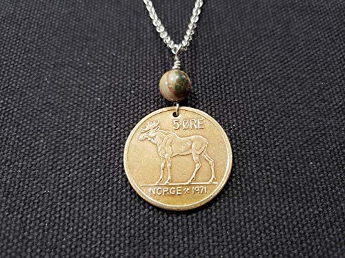 CoinageArt Moose Coin Necklace 5 Ore from Norway dated 1971 with Agate Gemstone on Brilliant Stainless Steel Chain - 48th Birthday Necklace - Bronze Anniversary 186