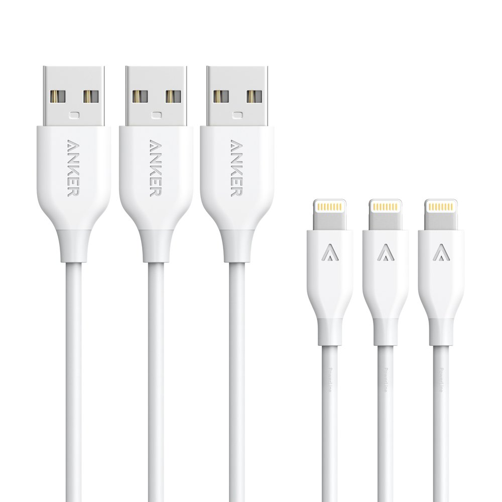 [3 Pack: 3ft/6ft/10ft] Anker Powerline Lightning Cable Apple MFi Certified - Lightning Cables for iPhone XS/XS Max/XR / X / 8/8 Plus / 7/7 Plus / 6 / 6s, iPad Mini / 4/3 / 2, iPad Pro Air 2