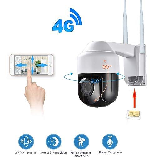 QinLL Cámara de Seguridad 3G 4G 1080P cámara Pan Tilt 4X Let ...