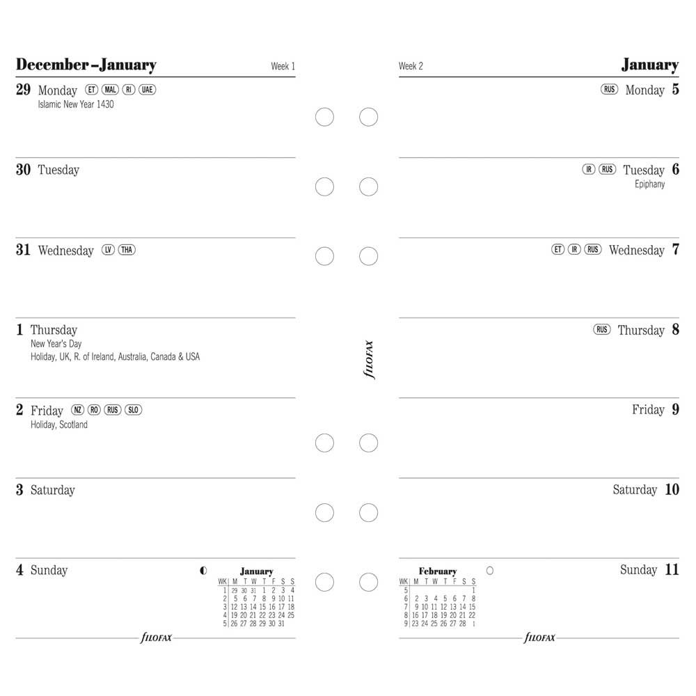 Filofax Week per Page Refill for 2015 Personal Size Yearly Calendar, White (C68426-15)