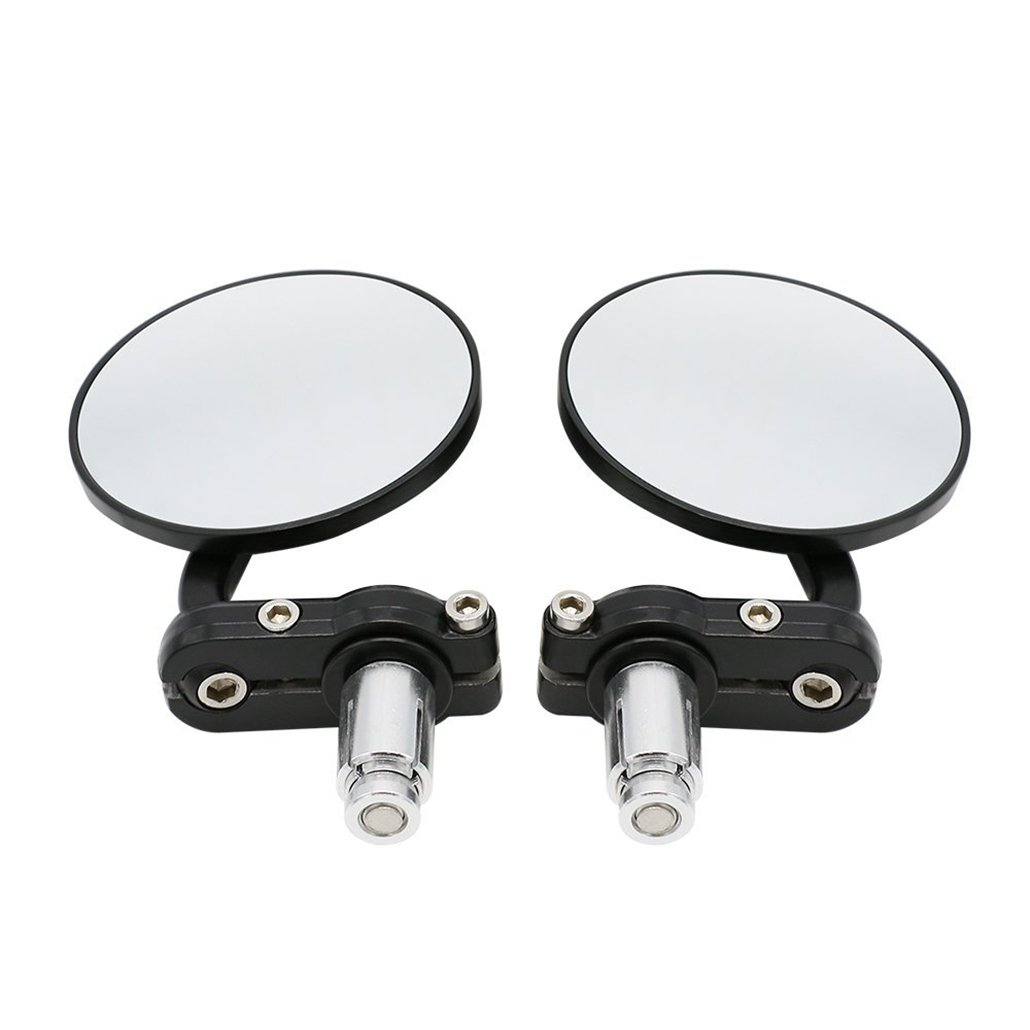 Sportsmax Universal Black 3 Round 7//8 Handle Bar End Rearview Convex Mirrors Inceased Vision Side for Most Harley Davidsons Suzuki Honda Kawasaki Cruisers