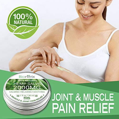 51iK7JDVwhL - Bionitrix Hemp Oil Salve - 2000MG - Natural Hemp Extract for Arthritis, Muscle, Joint, Back & Knee Pain - Fast Recovery and Relief - Treatment for Muscle Soreness & Inflammation