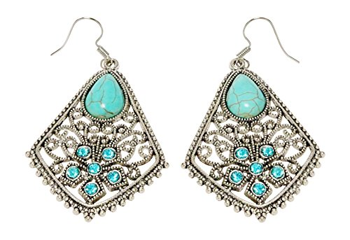 Earrings - Silver Tone Filligree and Turquoise Color Stones - Kiki's - 21 Rue Glasses