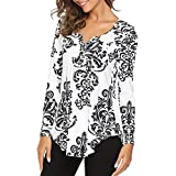 Goddessvan Clearance Sales Women's Printed Long Sleeve Henley Pleated Tops Casual Flare Tunic Blouse Shirt