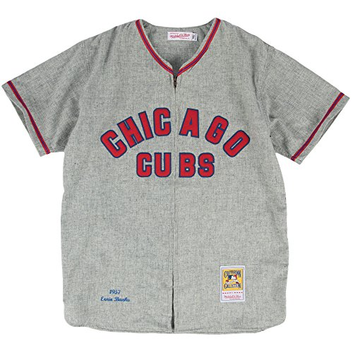 Ernie Banks Chicago Cubs Mitchell & Ness Authentic MLB 1957 Zip Front Jersey
