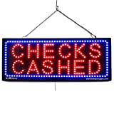 LARGE LED OPEN SIGN - ''CHECK CASHED'' 13''X32'' size, ON / OFF / FLASHING MODE (LED-Factory #2646)