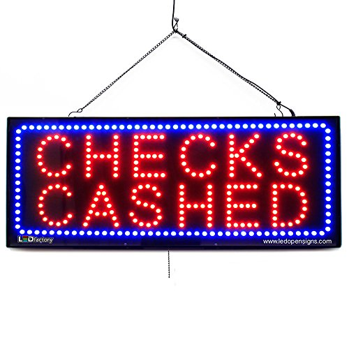 Sign Cashed Checks Led (LARGE LED OPEN SIGN -CHECK CASHED 13