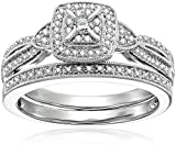 Sterling Silver Diamond Bridal set Ring, Size 7 (1/4cttw)