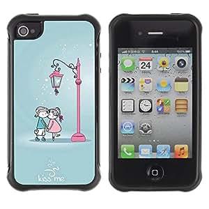Pulsar Defender Series Tpu silicona Carcasa Funda Case para Apple iPhone 4 / iPhone 4S , Cute Kiss Me Couple
