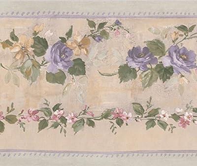 Purple Bloomed Roses on Vine Beige Floral Wallpaper Border Retro Design, Roll 15' x 5.25''