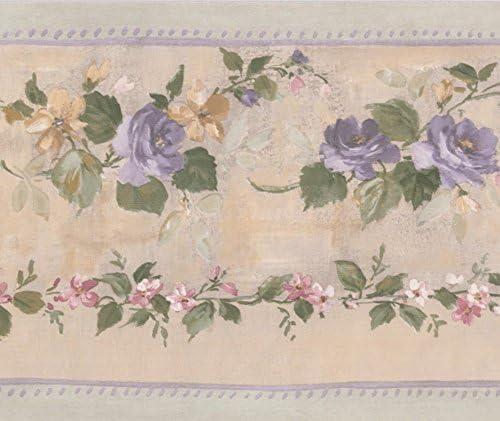 """ヴァインベージュの花の壁紙ボーダーレトロなデザインロール15 'x 5.25 """" に紫の咲いたバラ"""