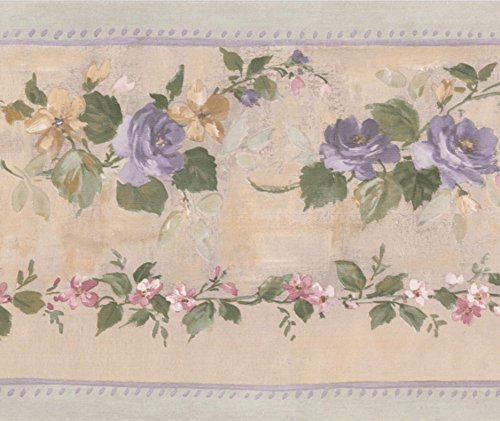 Purple Bloomed Roses on Vine Beige Floral Wallpaper Border Retro Design, Roll 15' x 5.25'' (On A Floral Wallpaper)