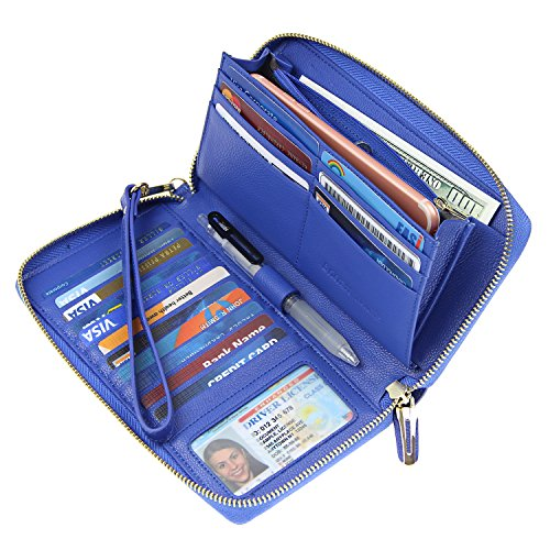 Women RFID Blocking Wallet Genuine Leather Zip Around Clutch Large Travel Purse Blue