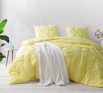 ce39e83f4a Amazon.com: Byourbed Limelight Yellow Pin Tuck King Comforter: Home &  Kitchen