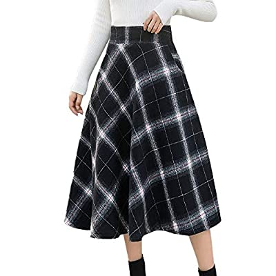 NREALY Skirts Womens High Elastic Waist Maxi Skirt A-line Plaid Winter Warm Flare Long Skirt