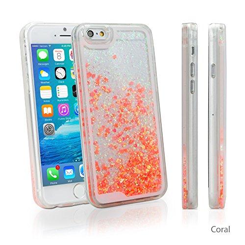 iPhone 6Plus Case, BoxWave® [flutterlove Case] Hybrid Hard Shell/TPU Liquid Glitter Case für Apple iPhone 6Plus, 6S Plus–Coral