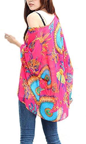 Camiseta Manga Murcielago Mujer Boho Blusa Estampadas Flores Top Gasa Tunicas Verano Pareos de Playa Bikini Cover up - Landove patrón 03