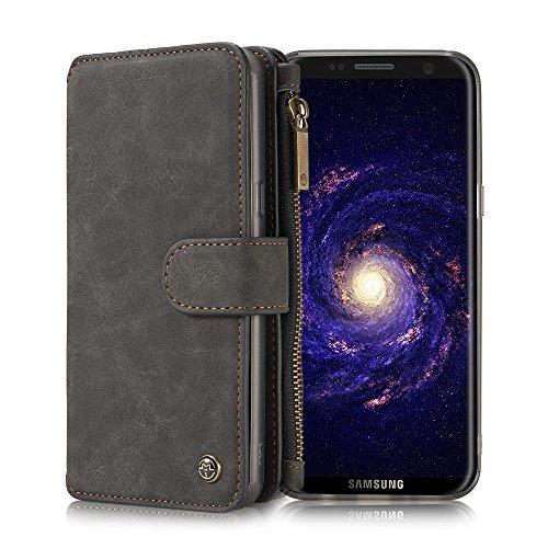 Galaxy S8+ Plus 6.2″ Genuine Cowhide Leather Vintage Wallet Case – Multifunctional Detachable Retro Folio Flip Case w/ Credit Card Slots and Zipper Cash Compartments for Samsung S8 Plus (G955)