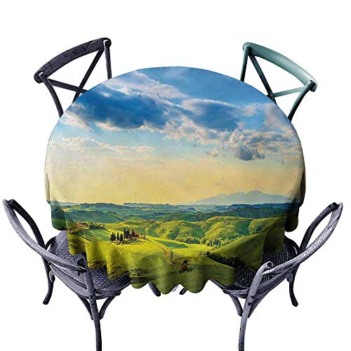 VIVIDX Water Table Cloth,Tuscany,Sunset in Tuscany Rural Farmand Cypresses Trees Sunlight Volterra Italy,for Events Party Restaurant Dining Table Cover,50 INCH,Sky Blue Pale Green