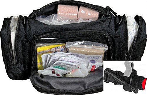 First Aid Kit by Spec Operator Rapid Response Bag & CAT Tourniquet Combination for Police, Camping, Hiking, Home and Workplace. (Black)
