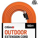 Otimo 100 ft 16/3 Outdoor Heavy Duty Extension Cord - 3 Prong Extension Cord, Orange