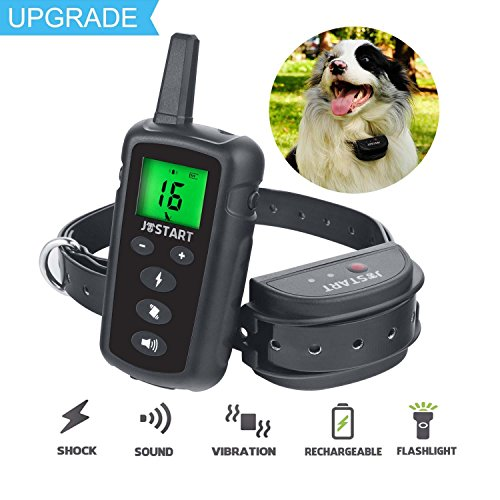 - JOSTART Electric Dog Training Collar Remote Dog Shock Collar Rechargeable 100% Waterproof 1600FT Range with Beep, Vibration. Shock collar for small dogs, medium, large puppy