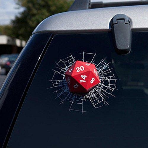 Three-D Amusing Motorcar Gummed Label - Car Dice Sticker Rear Window Wiper Reflective Decal - Comical Auto Ill Queerly Risible Suspiciou Comically Cable Fishy Comic Gondola Odd - 1PCs