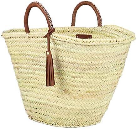 French straw Basket bag custom name  interior lining Moroccan market basket Beach Bag organic straw beach bag summer bag bio basket big tote