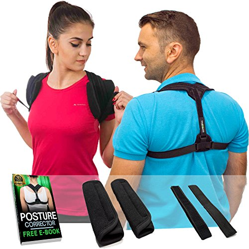 Posture Corrector For Men & Women - Adjustable Clavicle Back Brace Support for Upper Back Correction + Extension Straps, Pads and E-book by Mbs (Mbs Pro Pads)