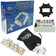 Pureplay Professional Double 12 Train Dominoes Set with Four Wood Tray in Bag and Cardboard Box
