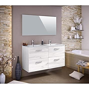 STELLA Ensemble salle de bain double vasque L 120 cm - Décor bois ...