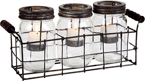 Clear S/3 Mason Jar Votive W/Metal Rack in -
