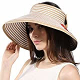 Women's Wide Brim Roll-up Straw Sun Visor Beach Golf Cap (Mixed Natural) Gift for Mother's Day