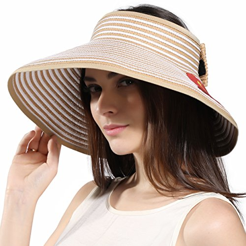 Women's Wide Brim Roll-up Straw Sun Visor Beach Golf Cap (Mixed Natural) Gift for Mother's Day by Kainozoic