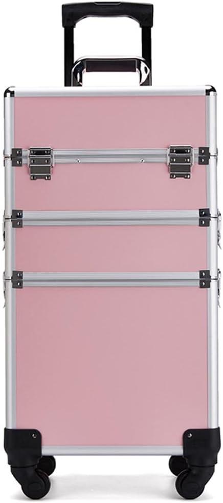 XuQinQin Caja de herramientas de maquillaje con Maquillaje de maquillaje Maleta de ruedas universal Carro de caja de almacenamiento de cajas múltiples de gran capacidad de gran capacidad maletin maqui