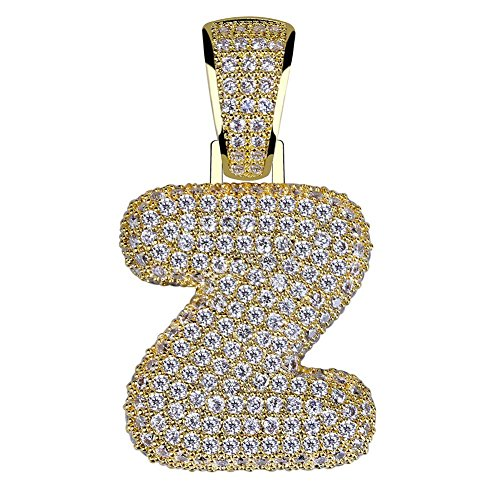Diamond Boys Charm - HECHUANG Micropave Simulated Diamond Iced Out Bling Custom Bubble Letters Pendant with Rope Chain (Z Gold, 24)
