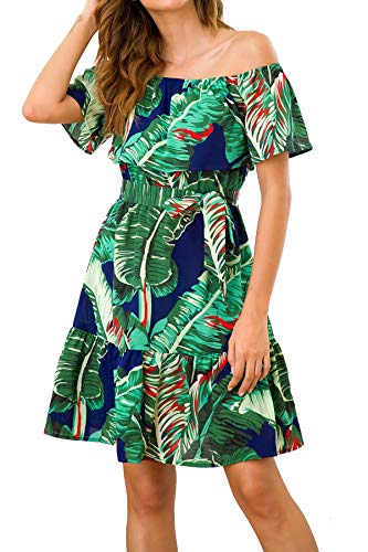 PinUp Angel Navy Green Off Shoulder Short Sleeve Tropical Leaves Ruffle Dress with Belt
