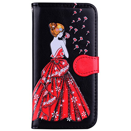 Galaxy S6 Case, BONROY Premium Soft PU Leather Crystal Bling Wallet Case Pretty Girl Pattern Design Back Case Cover with [Kickstand] Stand Function Card Holder and ID Slot Slim Flip Protective Skin Co Pretty Girl - black