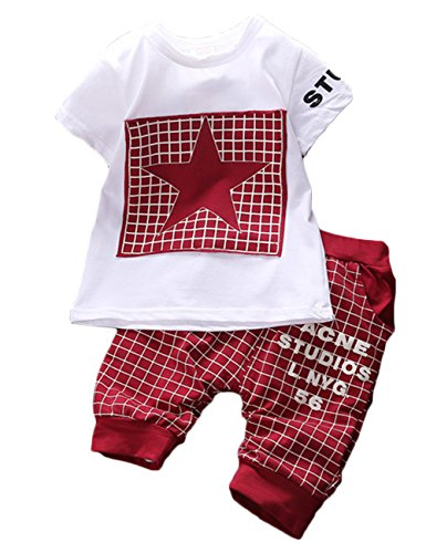 Canis Baby Boy Kid 2 Piece Star Sportswear Clothes T-Shirt Top Short Pants Outfit Set (M/6M-1Y, Dark Red)