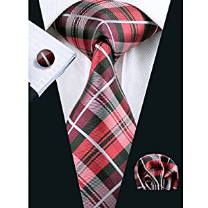 Barry.Wang Designer Ties for Men Set Formal Pocket Square Cufflink Check Plaid