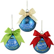 """Northlight Set of 3 Collectible Ford Logo Blue Glass Ball Christmas Ornaments 2.75"""" (70 mm)"""