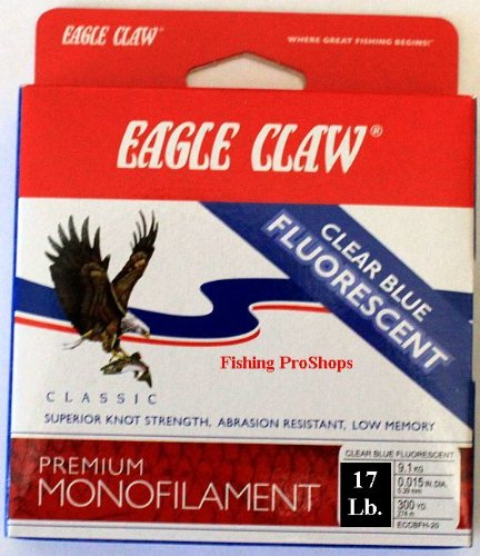 Eagle Claw Cast 300-Yard 17-Pound Classic Fishing Line, Clear/Blue Fluorescent, 17