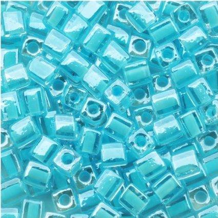 Miyuki 4mm Glass Cube Beads Ice Blue Lined Crystal #220 (25)