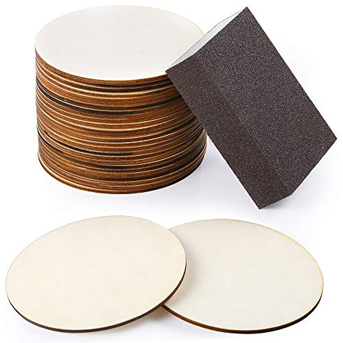 Caydo 25 Pieces 4 Inch Unfinished Round Wood Slices DIY Coaster Craft Wood with Sanding Sponge for Pyrography, Painting, Writing, DIY Supplies, Photo Props, Home, Christmas