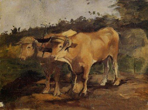 Yoke Oil - Artisoo Two Bulls Wearing a Yoke Oil painting reproduction - Free Shipping Size: 30 x 22 inches - Henri de Toulouse-Lautrec