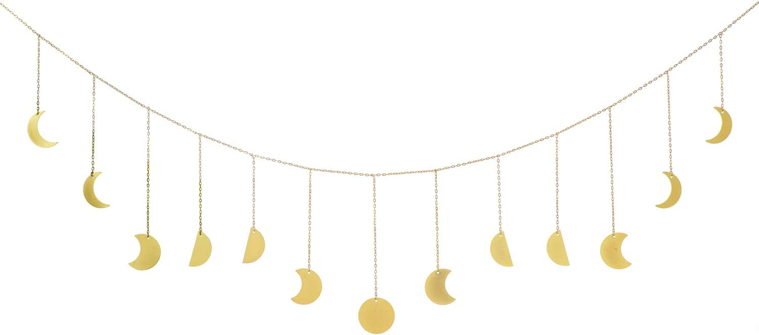 Dahey Moon Phase Wall Hanging Boho Decor Banner Golden Wall Art Garland Bohemian Metal Moon Cycle Home Decoration for Bedroom, Living Room, Apartment or Dorm, Gold