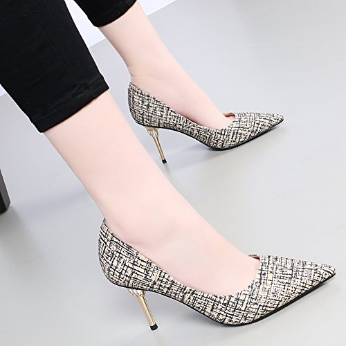 Light Thin And Women The Single Spring Shoes 38 Quality Heeled Gold KPHY Wild Colored fsaMGhdr Tip Autumn Butt Water LPP Shoes Drilling And Shoes In High 8Cm The vnwz8